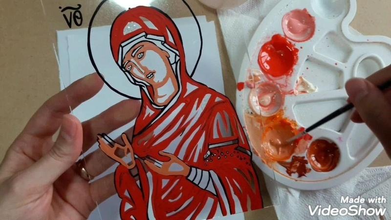 Cum se Pictează o ICOANĂ Bizantină cu Maica Domnulu 🎨 pas cu pas ❤ Byzantin ICON Virgin MARY 4