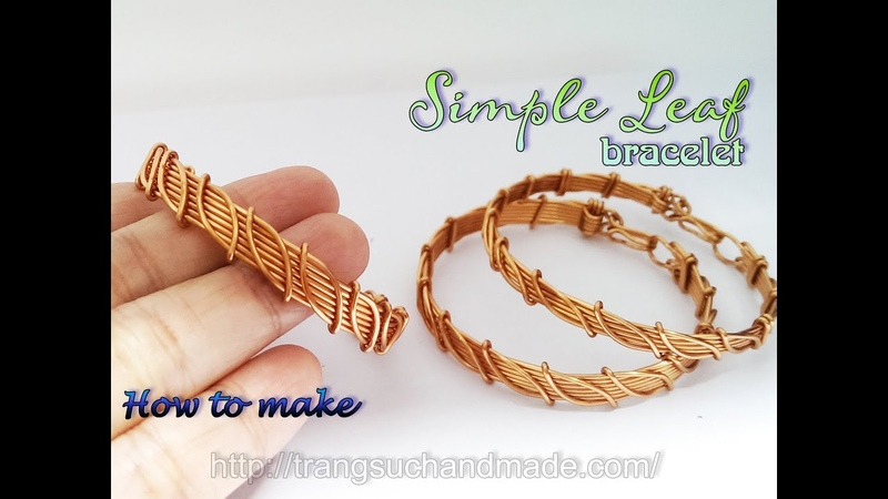 Leaf bracelet Nature jewelry set simple jewelry making from copper wire 395