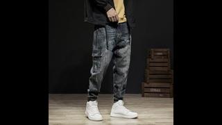 Модные уличные мужские джинсы, соединенные дизайнерские штаны карго из денима, штаны шаровары, джинсы с принтом в стиле хип