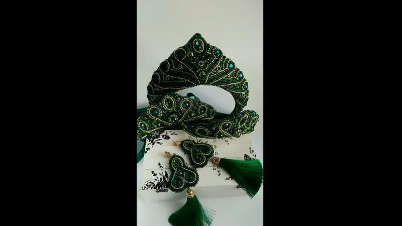кокошники зелёный комплект