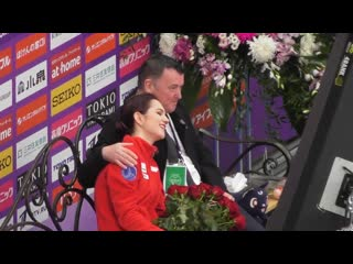 Evgenia medvedeva and brian orser in kiss and cry sp rostelecom cup 2019 moscow