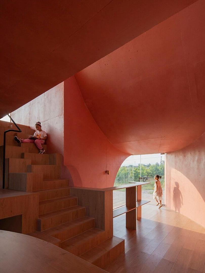 Павильон «персиковая хижина» как часть общественного центра в сельской местности Китая