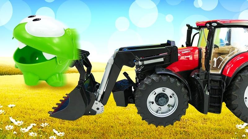 Мультик для малышей про АмНяма большой трактор исобачку наферме Развивающее видео для детей
