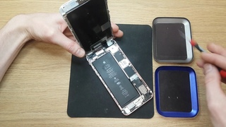Apple iphone 6s plus open to audit problems after xxx service. Battery and motherboard is damaged.