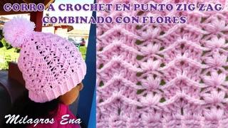 Gorro a crochet en punto ZIG ZAG combinado con FLORES PEQUEÑAS paso a paso