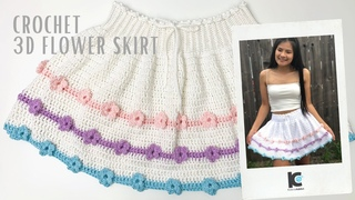 How to Crochet Skirt : Crochet 3D Flower Skirt Tutorial ( FREE Crochet Pattern )