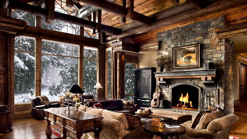 HD Winter Christmas Screensaver Snow falling Fire crackling sound Cosy 2 hours 30 mins