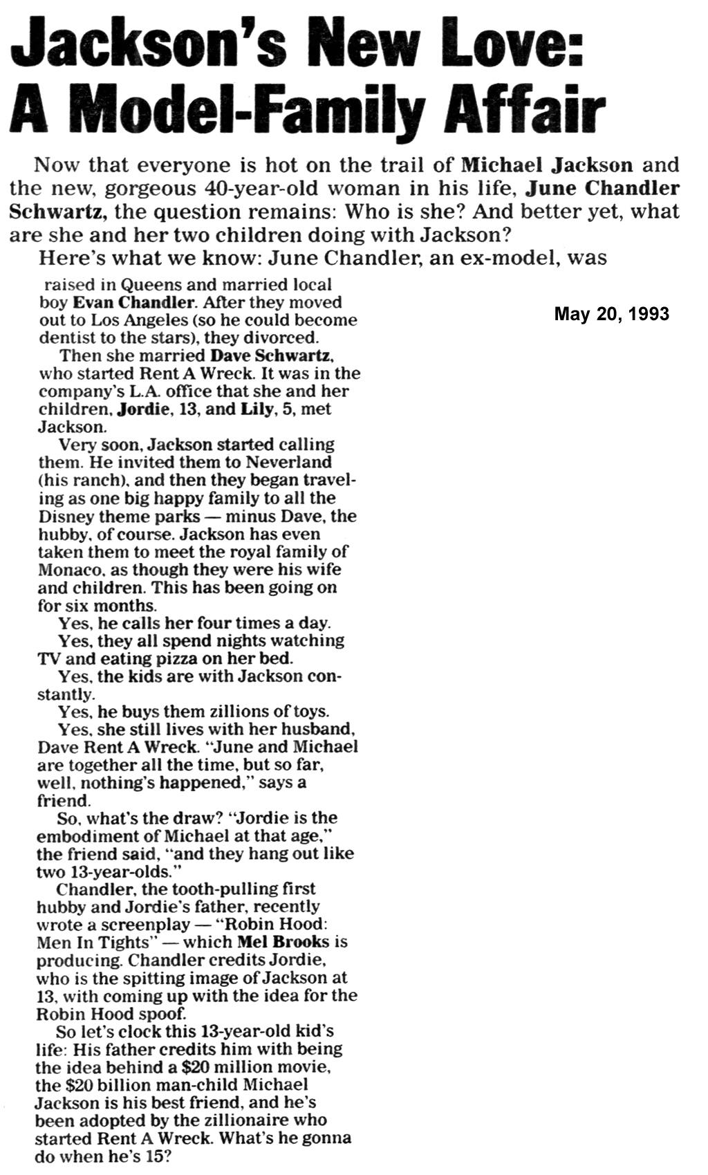 Статья от 20 мая 1993 г.: «Новая любовь Майкла Джексона»., изображение №1