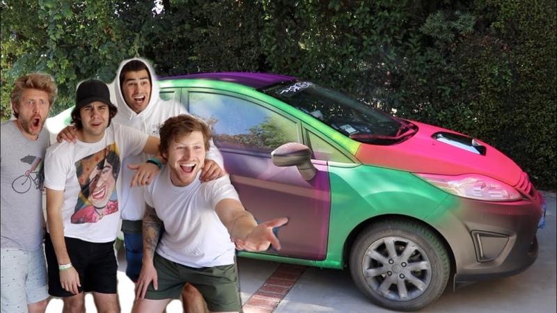 SPRAYPAINTING HIS CAR RAINBOW