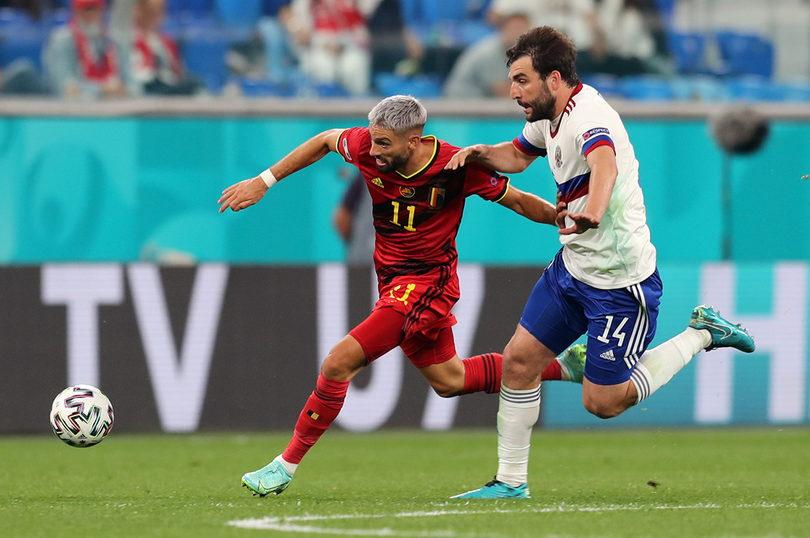 Георгий Джикия в матче со сборной Бельгии на Евро-2020