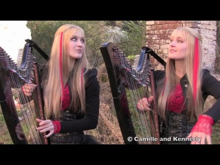Американские сестры-близнецы игрют на арфах!!! Iron Maden - Fear of the Dark (by Camille and Kennerly)