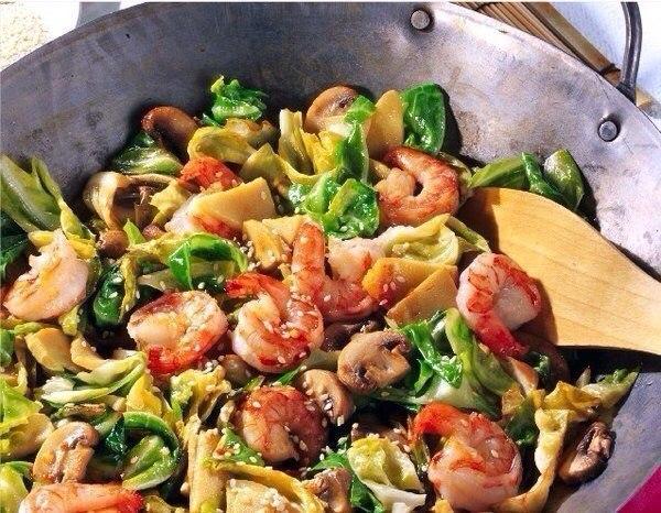 Креветки с овощным ассорти  Рецепт на 6 порций, в...