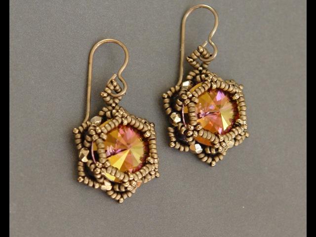 Sidonias handmade jewelry - Sunset Glare - Beaded Earrings