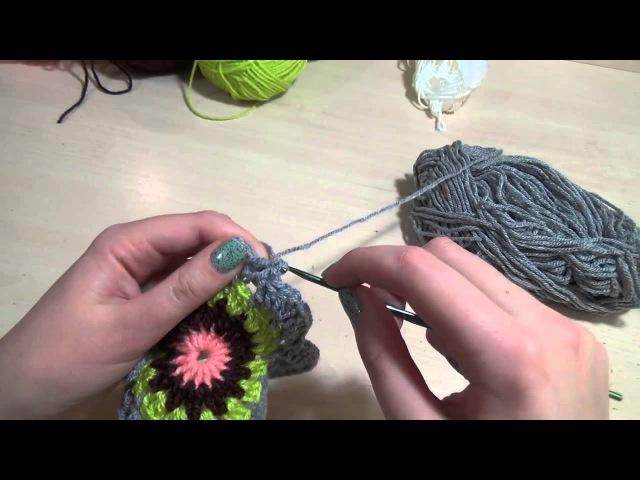 Вязание крючком / Вяжем квадратик с цветочным мотивом