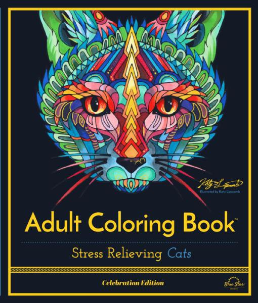 Adult Coloring Book - Stress Relieving Cats, Celebration Edition