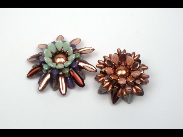 Schmuck selber machen Blume aus böhmischen Glasperlen als Ring Brosche oder Anhänger Tutorial