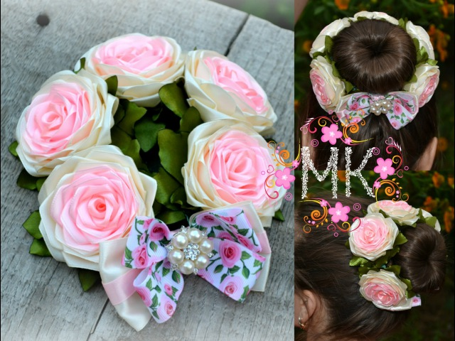 Rose DIY. 2 ЧАСТИНА. Резинка на пучок(бублик)з трояндами та бантом.