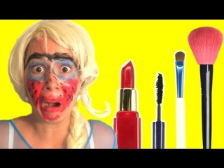 MAKE UP FROZEN ELSA UGLY vs SPIDERMAN w Batman vs Joker catwomen maleficent   Superheroes fun