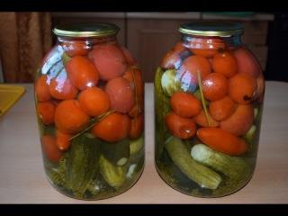 Заготовки на зиму.Ассорти огурцы с помидорами