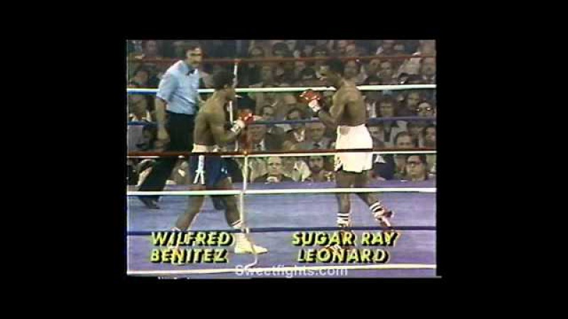 Sugar Ray Leonard fights technical KO's Wilfred Benitez KNOCK OUT