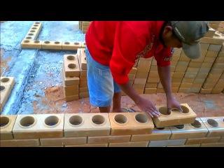 Лего кирпич, Строительство стены и столба | кладка кирпича на клей своими руками