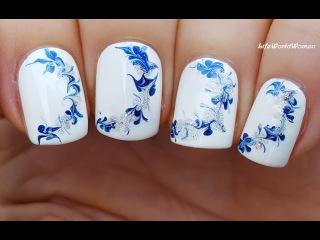 NEEDLE NAIL ART #14 - WINTER Drag Marble Nails Tutorial