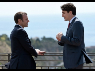 Together at last! new french president emmanuel macron and canadian pm justin trudeau. премьер-министр канады и президент франци