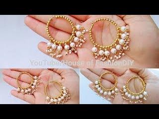 5Min DIY Earrings /How To Make Hoop Earrings/Pearl Earrings At  Home..!