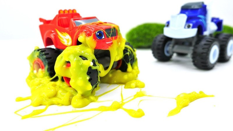 Crusher ve Blaze arabaların yeni yarışması. Slime oyunu.