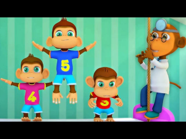 Fünf kleine Affen   Kinderreime für Kinder   Kinderlied auf Deutsch   Affenlied   Five Little Monkey