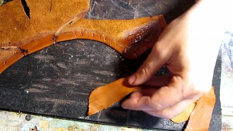Егор Букраев Д 12. Соединяем заднюю часть верха с подкладкой. Обувь своими руками.