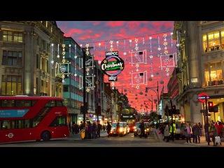 London Walk - Oxford Street Christmas Lights and Xmas Window Displays - England, UK