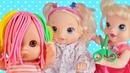 Куклы Пупсики Беби Элайв и Беби Бон играют в парикмахера/делаем стрижки и косы/Зырики ТВ для девочек