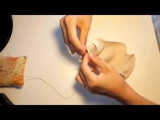 Текстильно-шарнирные куклы шьем торс, вшиваем листики[1]