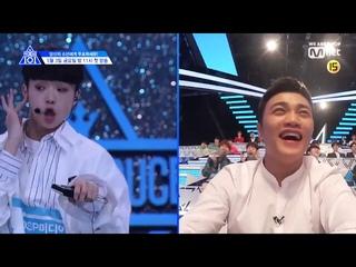 Produce X 101 Ep 1 - Center Son Dong Pyo Dance  MOMOLAND 'BOOM BOOM'