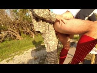 Soldier fucks soccer jock (anonymous uniform army marine bareback outdoor)