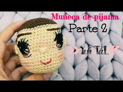 Muñeca amigurumi en pijama cabeza parte 2