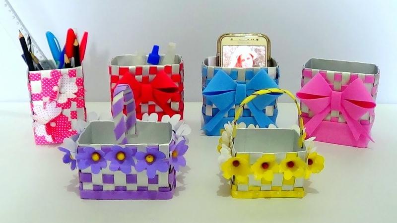 DIY - Como fazer Caixinha, cestinhas p/Pascoa e Porta Caneta de caixa de leite (Artesanato)