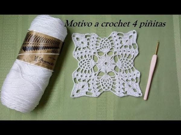 Motivo a crochet 4 piñitas