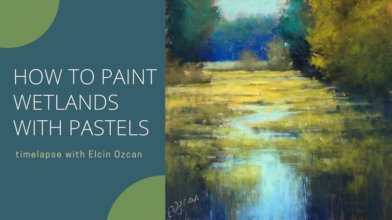 Timelapse Pastel Painting Demo Wetlands Bright Colorful Underpainting