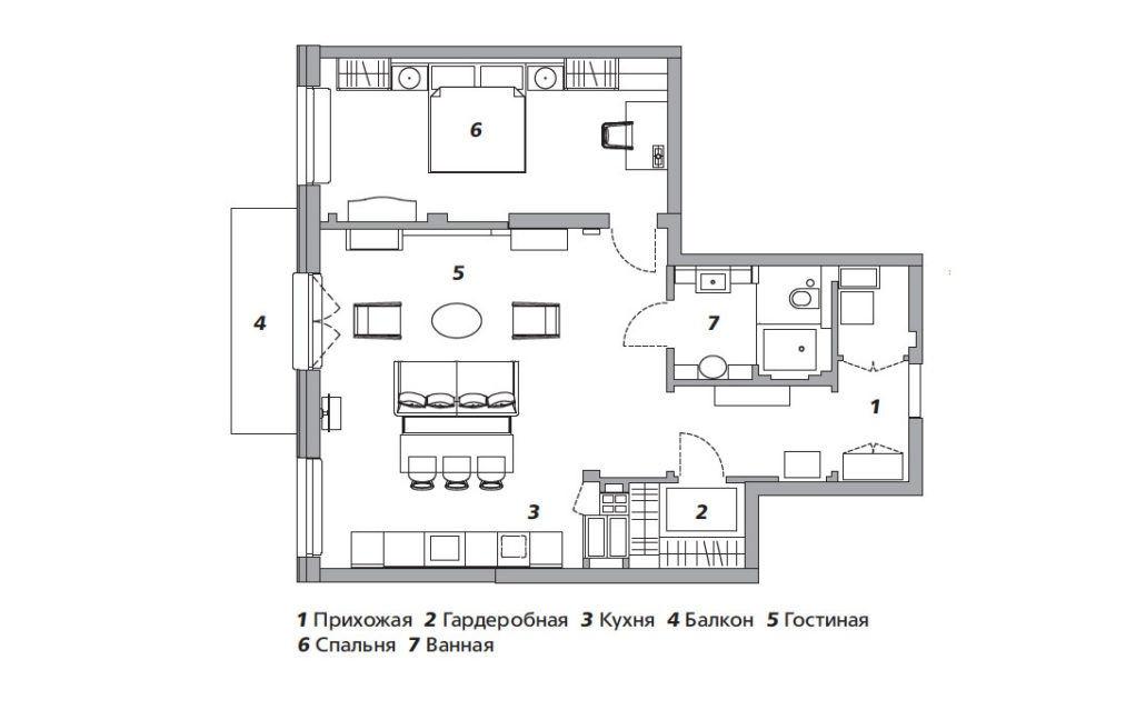 Квартира с элементами ар‑деко в Санкт-Петербурге, 77 м²  в новом проекте Полины Пидцан.