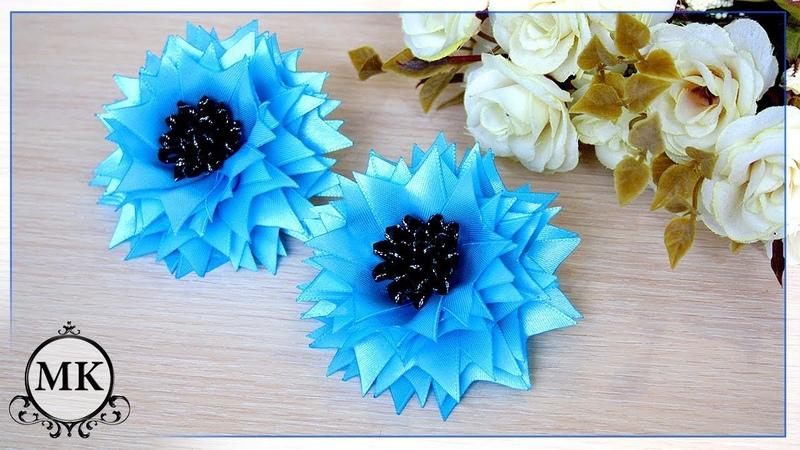 Простые резинки Цветы из лент Канзаши МК DIY Scrunchy Ribbon flowers Kanzashi