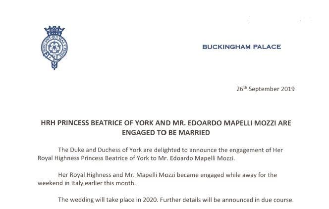 Помолвка принцессы Беатрис Йоркской и Эдоардо Мопелли Моцци!