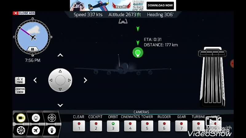 Красивый ночной полёт на Боинге 747 и идеальная посадка