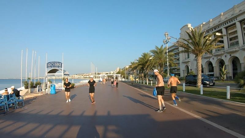 ⁴ᴷ Walking Nice France Beach Promenade in Early Morning
