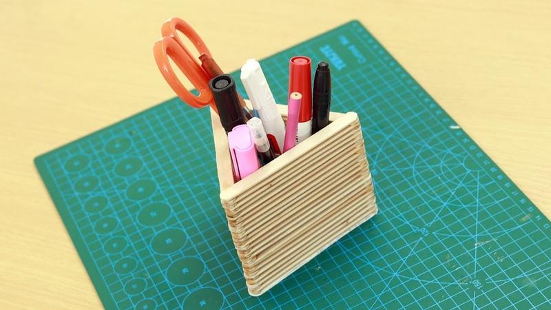 Pen Stand With Icecream Sticks - Ice Cream Stick Craft