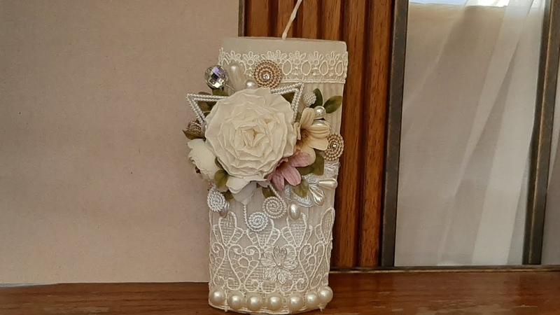 Como decorar una Veladora para Bautizo con tela y flores , complementos para Bautizo Veladora