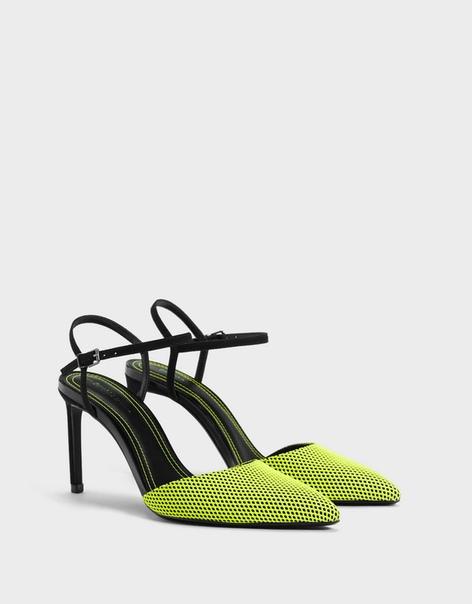 Туфли на высоком каблуке с неоновыми сетчатыми деталями