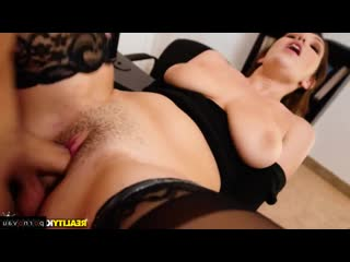 April Dawn & Sean Lawless [ In stockings,Чулки &  Secretaries / Pussy, Cumshot on chest, Curly, Jerking off, The dress, In