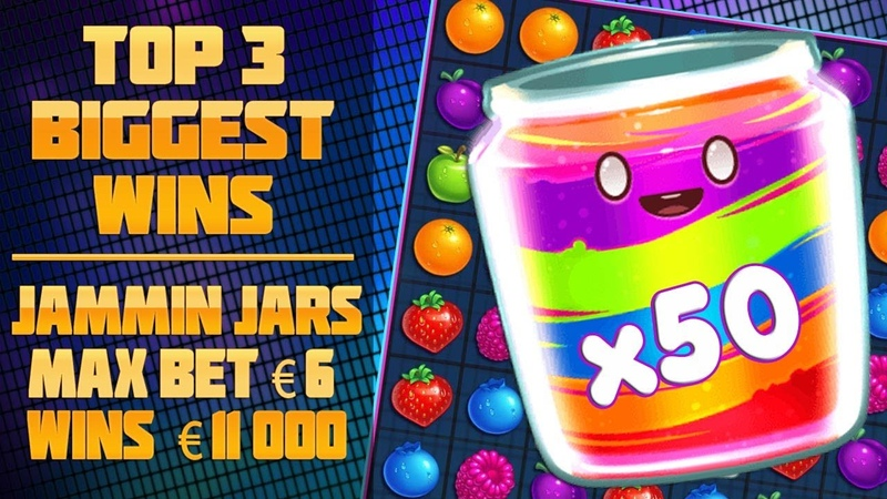 TOP 3 BIGGEST WINS IN SLOTS JAMMIN JARS! MAXBET €6 WINS €11,000!